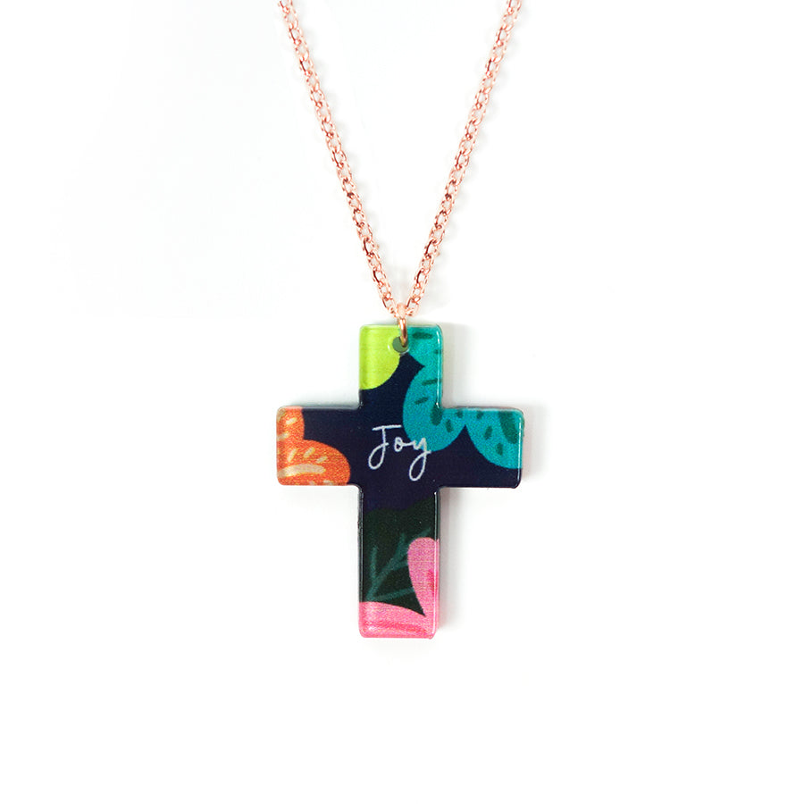 Acrylic black pendant with floral designs and encouraging verse 'Joy' makes for unique gifts for your Christian friends.