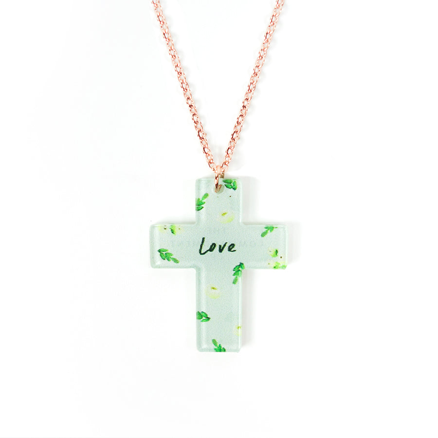 Acrylic green pendant with leaves designs and encouraging verse 'Love' makes for unique gifts for your Christian friends.