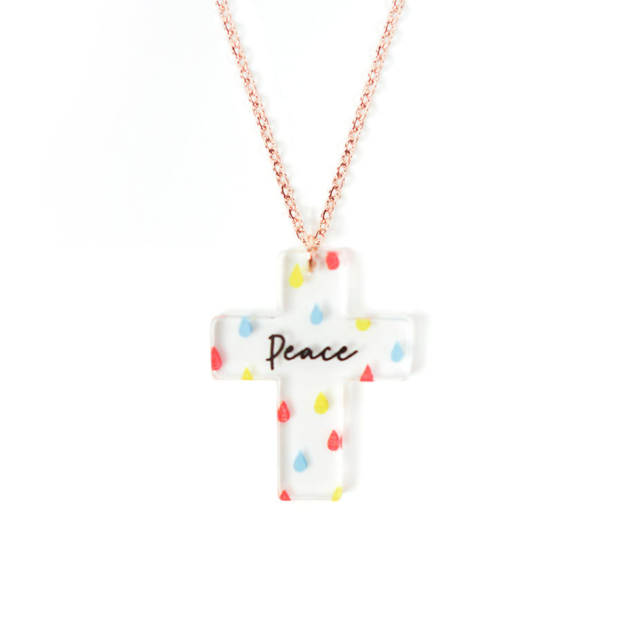 Acrylic transparent pendant with raindrops designs and encouraging verse 'Peace' makes for unique gifts for your Christian friends.