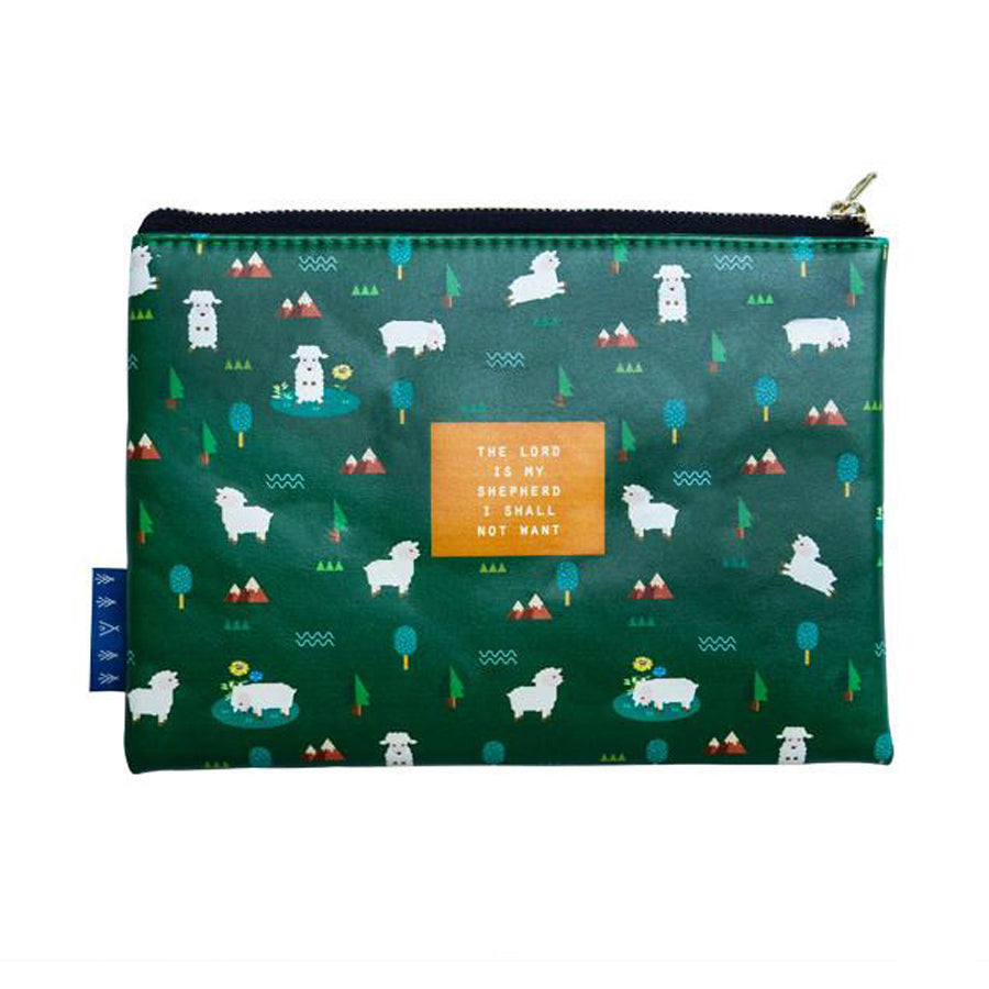 Multipurpose PU Leather pouch in green with sheep in the forest designs on it. Features bible verse 'The Lord is my shepherd I shall not want ' in white lettering and is great Christian gift idea. The pouch has inner lining, gold zip. Dimensions: 21cm (W) x 14cm (H)