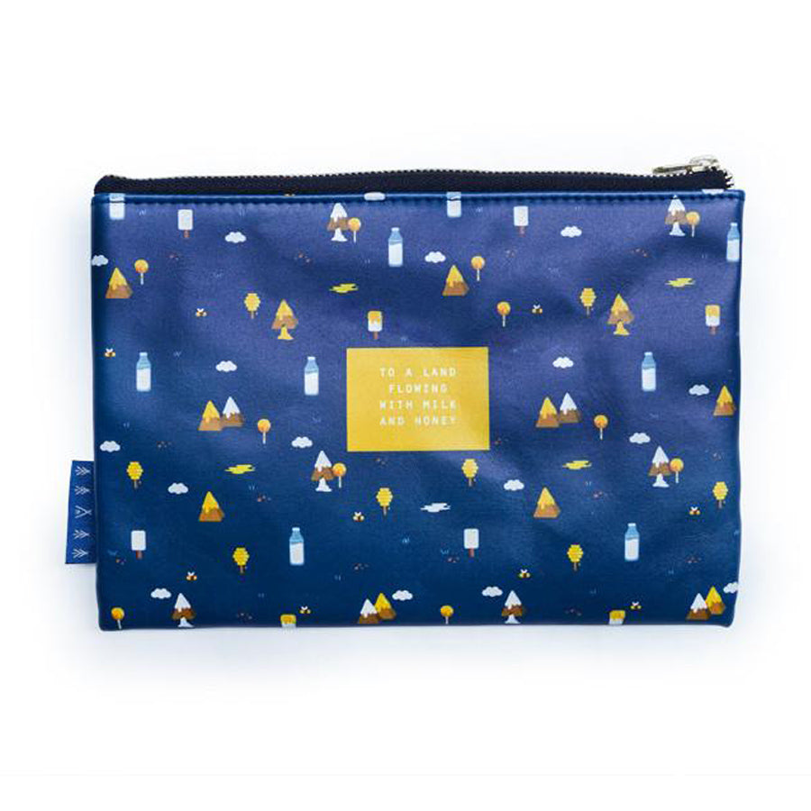 Multipurpose PU Leather pouch in navy blue with mountains and milk designs on it. Features bible verse ' to a land flowing with milk and honey' in white lettering and is great Christian gift idea. The pouch has inner lining, gold zip. Dimensions: 21cm (W) x 14cm (H)