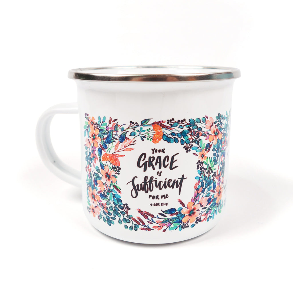 Your Grace is sufficient for me mug. Thick enamel material. Stainless steel rim.