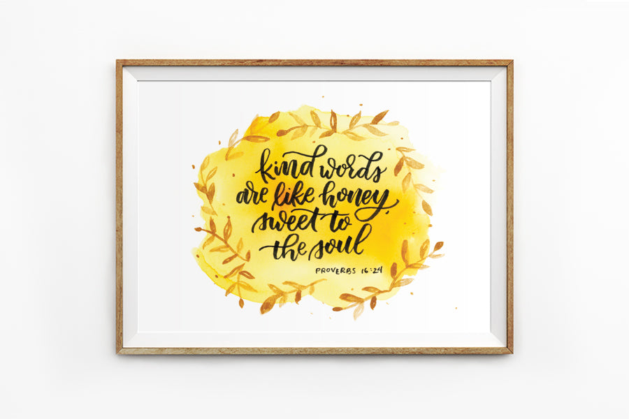 Poster featuring beautiful typography bible verses with autumn designs. 'Kind words are like honey, sweet to the soul'. 200GSM paper, available in A3,A4 size.