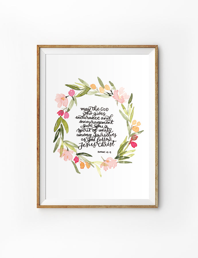 Posters featuring beautiful typography bible verses with floral designs. 'Spirit of unity. 200GSM paper, available in A3,A4 size.