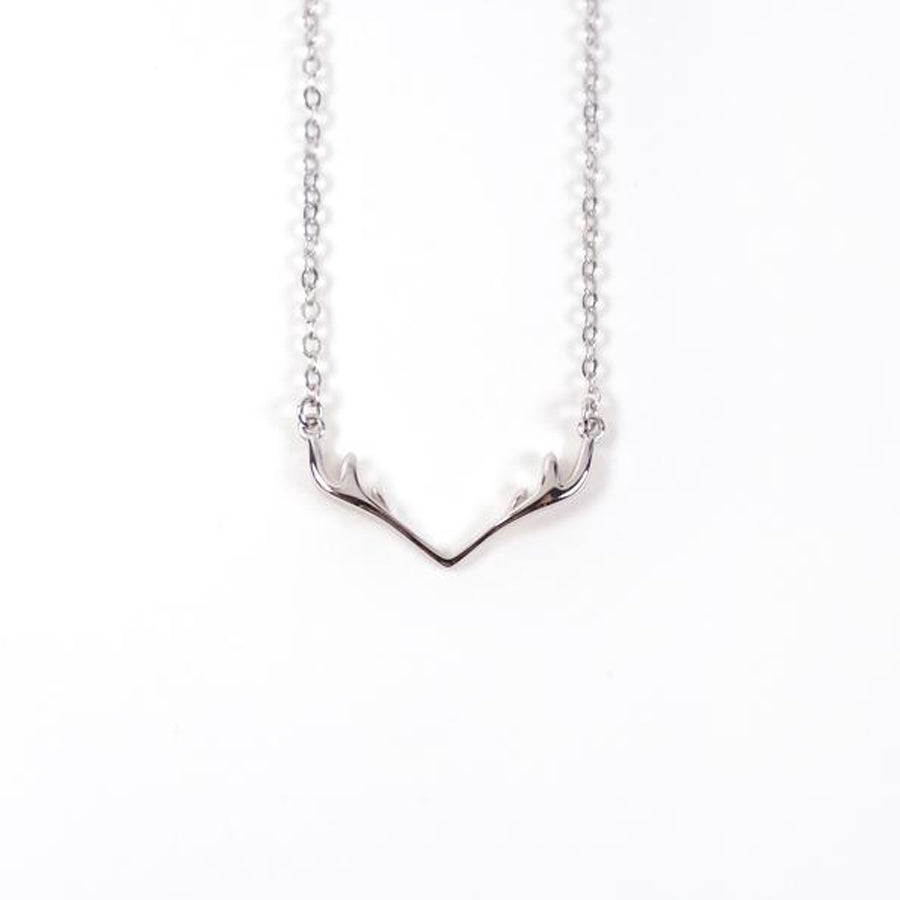 Deer antlers steel necklace made of stainless steel. Pendant Height 1.2cm / Length 2.4cm Chain Length 40cm - 44.5 cm