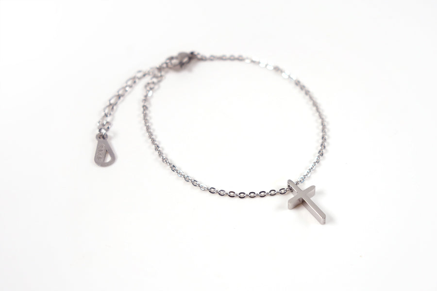 Top view of Silver cross necklace - Stainless Steel  Measurements: Pendant Height 1.4cm / Length 0.8cm Chain Length 16cm - 19.6cm
