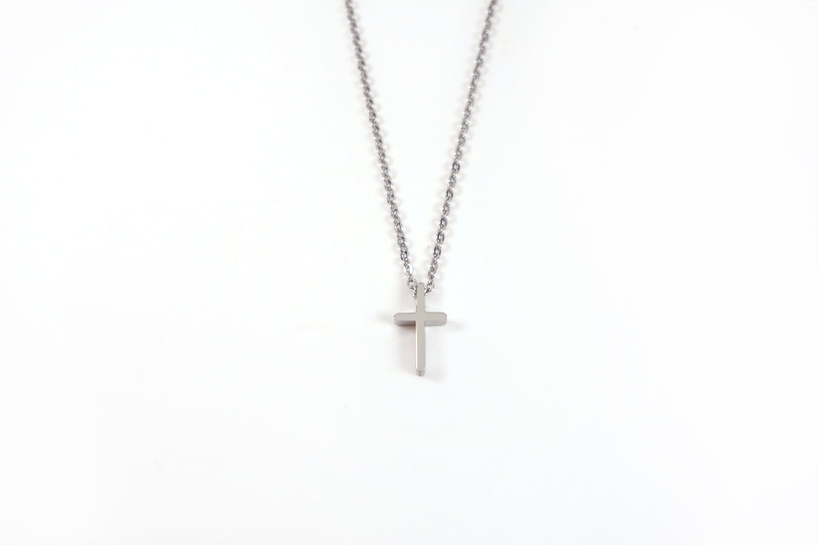 Silver cross necklace - Stainless Steel  Measurements: Pendant Height 1.4cm / Length 0.8cm Chain Length 16cm - 19.6cm