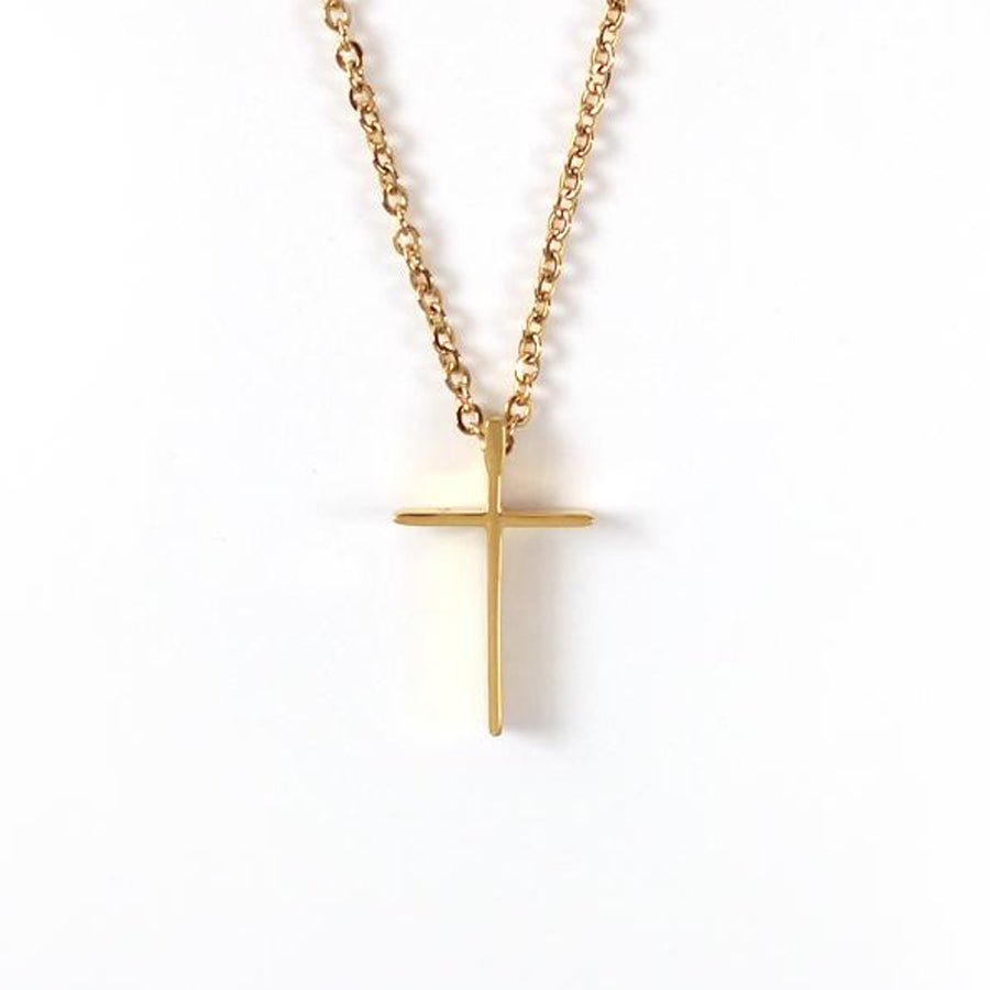 Gold color cross necklace - Gold Plated Stainless Steel  Measurements: Pendant Height 1.8cm / Length 1.1cm Chain Length 44cm