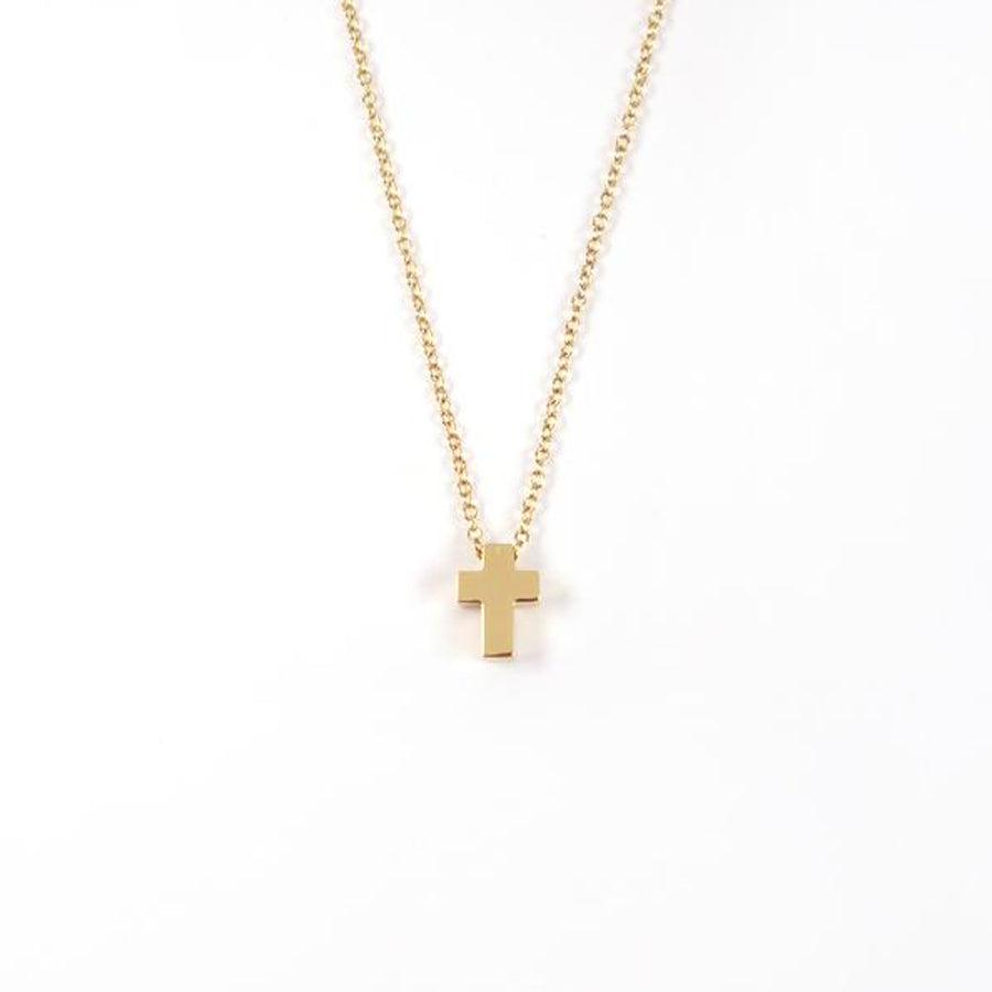 Gold color cross necklace- Gold Plated Stainless Steel.  Measurements: Pendant Height 0.9cm / Length 0.6cm Chain Length 44.8cm - 48.6cm