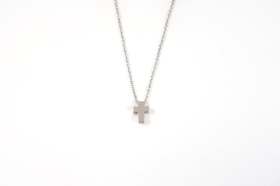 Silver color Cross necklace -  Stainless Steel  Measurements: Pendant Height 0.9cm / Length 0.6cm Chain Length 44.8cm - 48.6cm