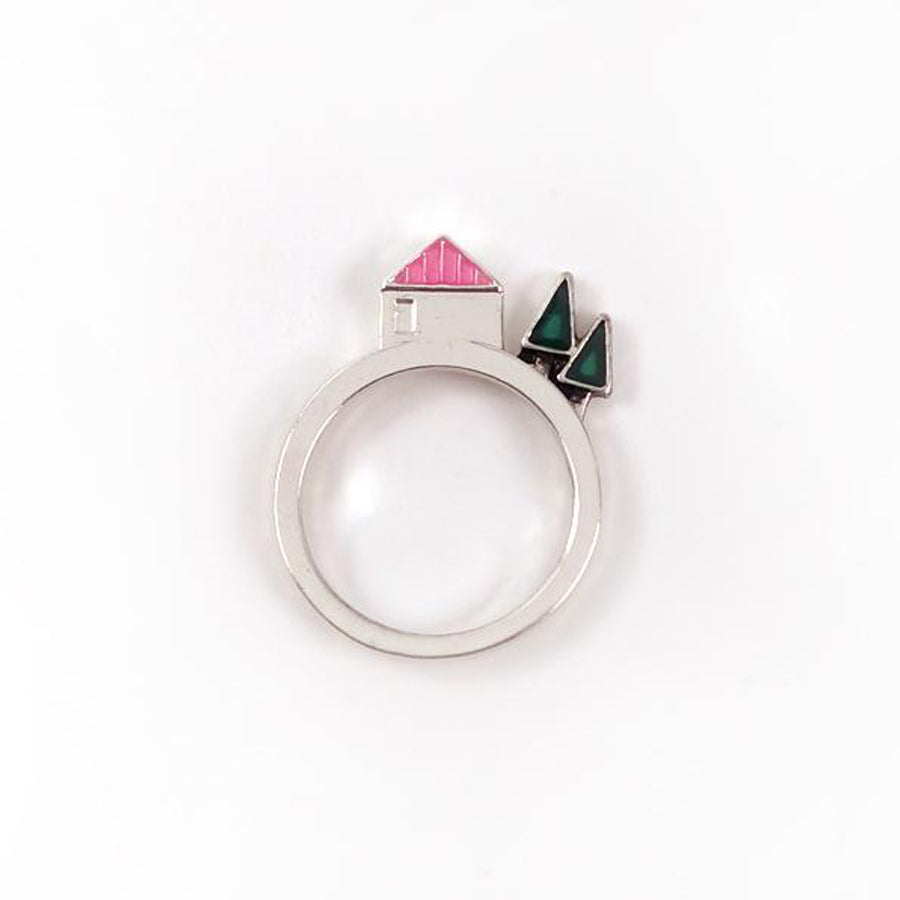 Ring with pop out design of a house and two trees. Creative and meaningful gift.