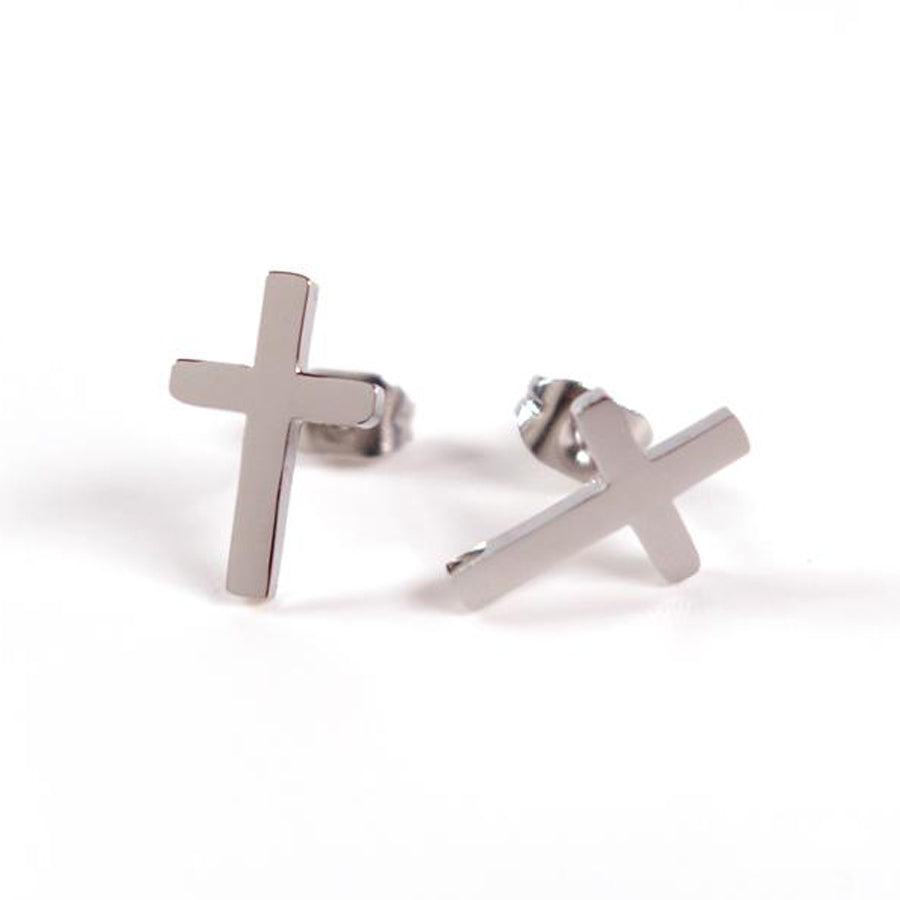 Silver Cross Earrings- S925 Silver Plated. Measurements: 12mm Earring Post Length, 7mm Cross Width, 12mm Cross Length. Includes hypoallergenic clear rubber barrel clutches & S925 plated stainless steel push back