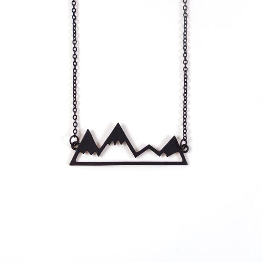 Black color - Black Plated Alloy mountains necklace serves as a reminder that our faith will be able to move mountains. Meaningful and encouraging gifts to our friends.