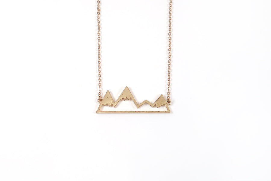 Gold color - Gold Plated Alloy mountain necklace reminds us to look towards God. Help comes from the LORD, the Maker of heaven and earth.