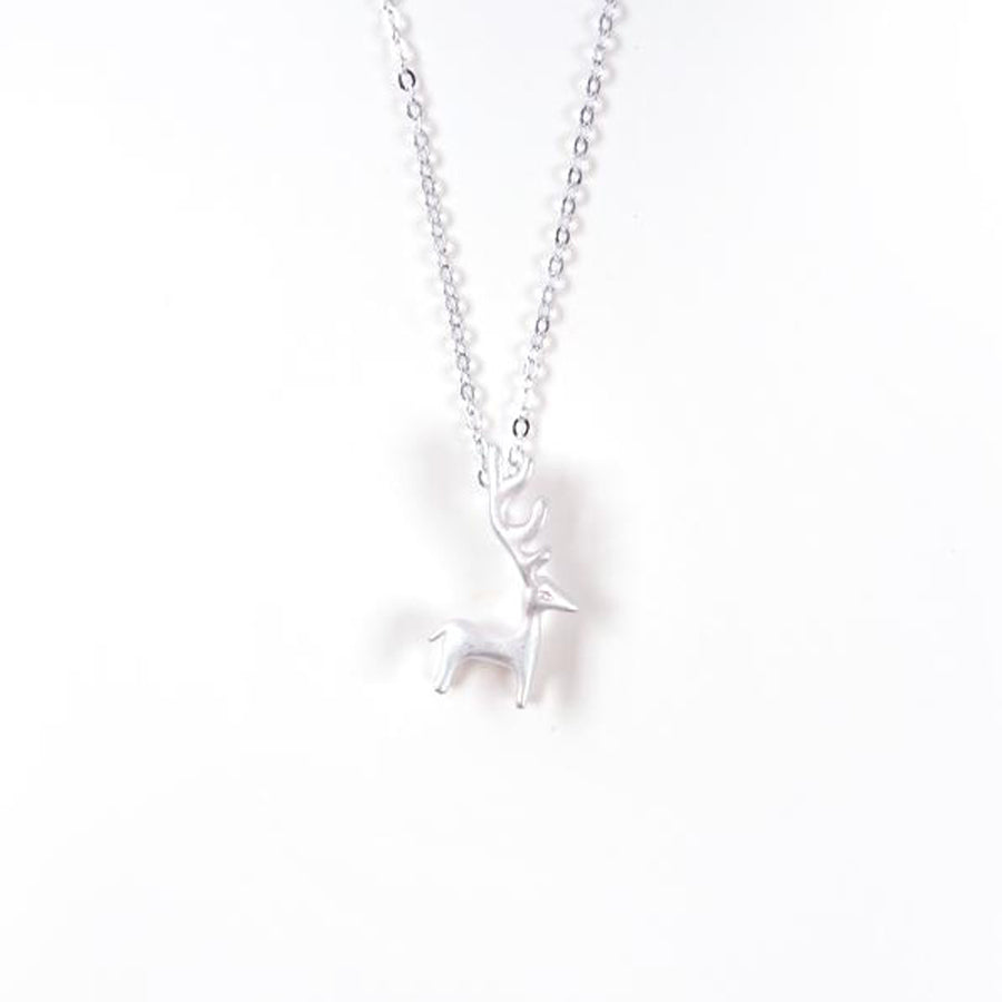 Stainless steel deer pendant coated with silver.