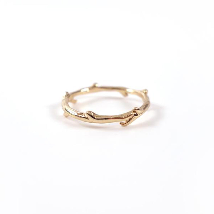 Little branch shaped into a ring. Made of gold plated alloy. Reminder to remain in Jesus so we can bear fruit.