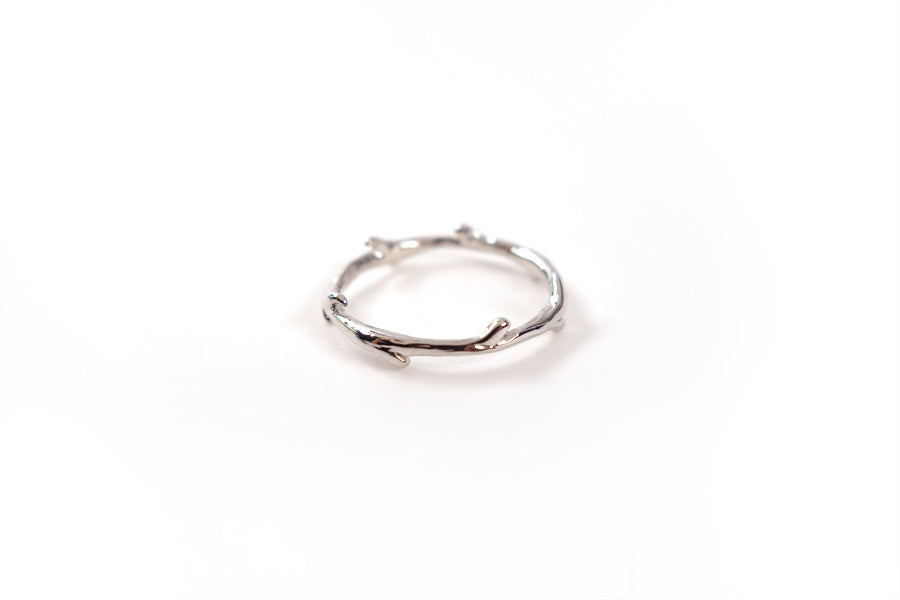 Silver little branches ring