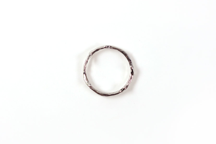 top view of silver branches ring