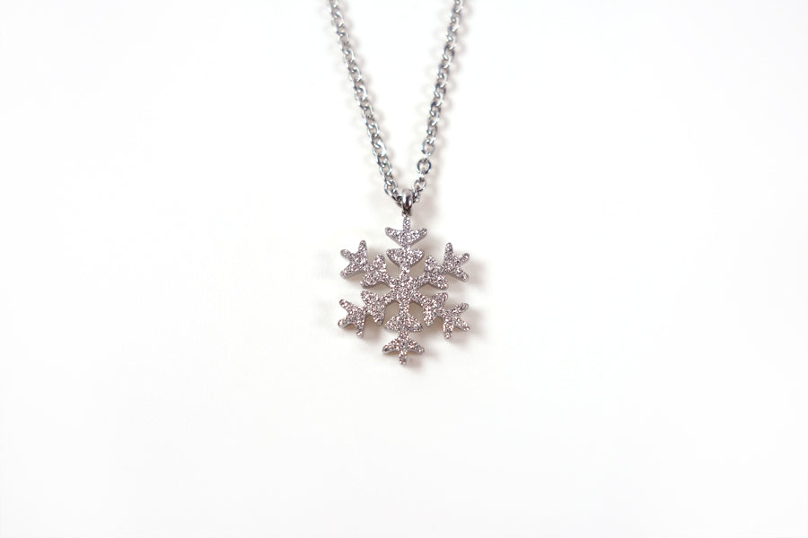Beautiful white snowflake necklace gift.