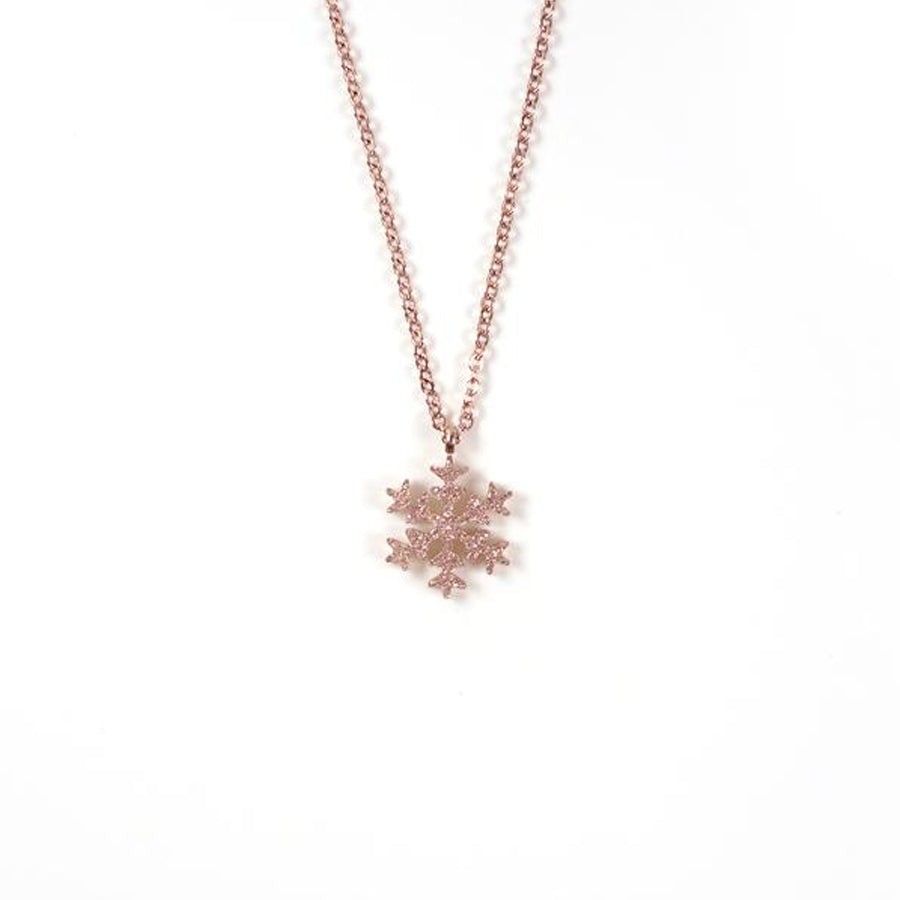 Snowflake short necklace. Platinum.