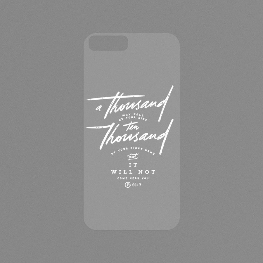 "A Modicase transparent film featuring bible verse ""A Thousand Ten Thousand"" From Psalm 91:7"