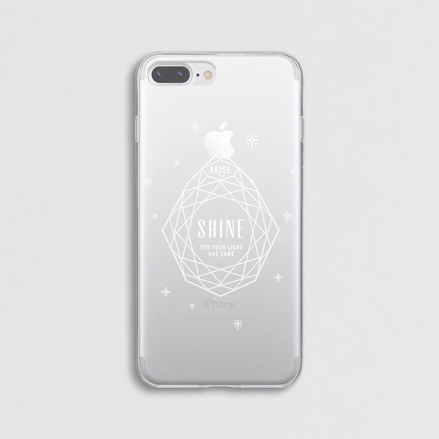 "Iphone with customised Modicase film ""arise shine"" with diamond detailings, and a clear phone case"