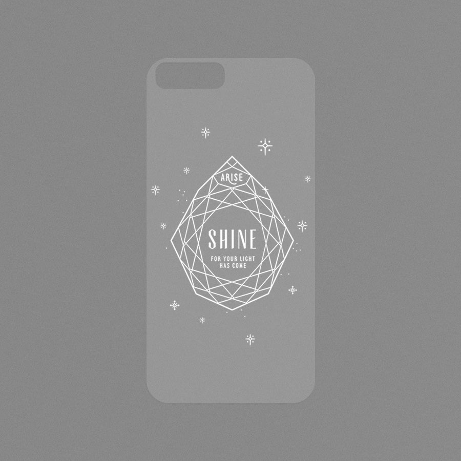 "Modicase film (transparent) for personalising Iphone cases. ""Arise shine"""