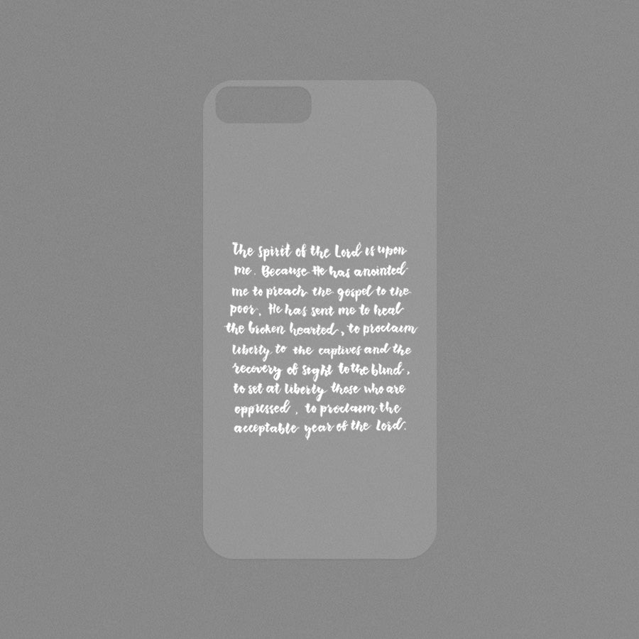 Modicase film (transparent) for personalising Iphone cases. Inspired by Luke 4:18-19