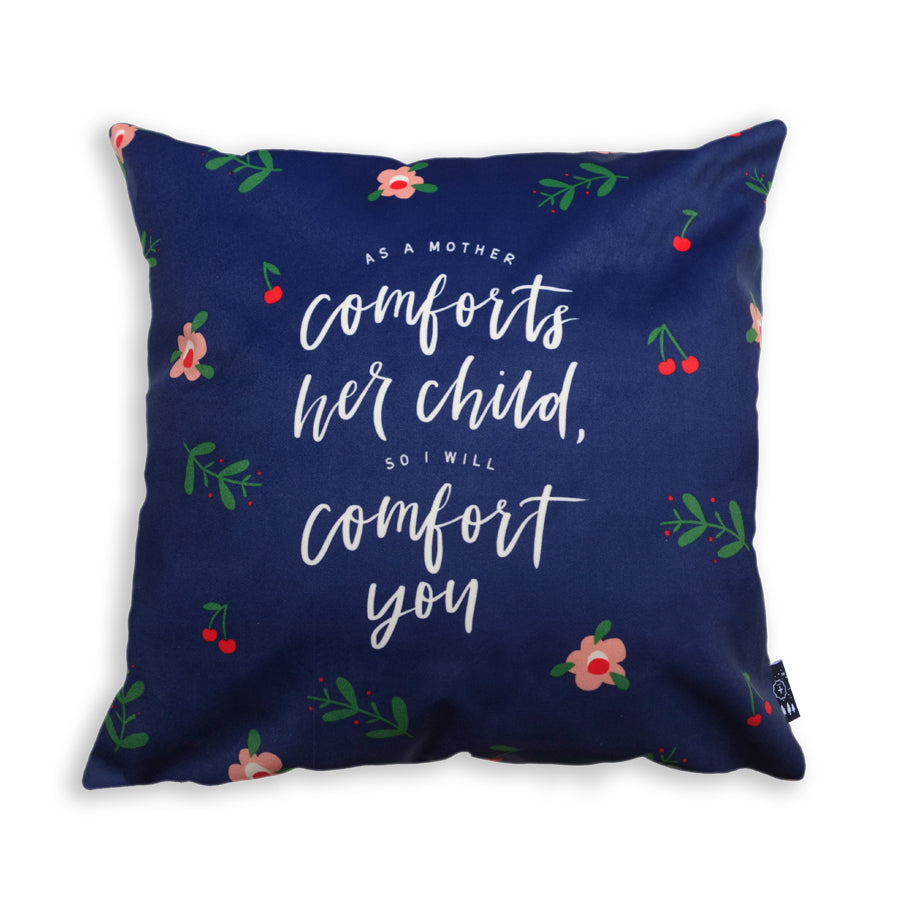 Premium 45cmx45cm pillow cover made of super soft velvet, navy blue colour theme. With hidden zip feature. Features Isaiah 66:13