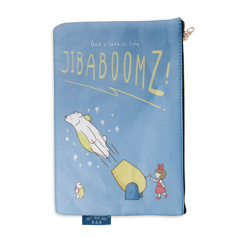 Multipurpose PU Leather pouch in blue with bear girl and chick designs on it. Features bible verse 'God's love is like Jibaboomz' in white lettering and is great Christian gift idea. The pouch has inner lining, gold zip. Dimensions: 21cm (W) x 14cm (H)