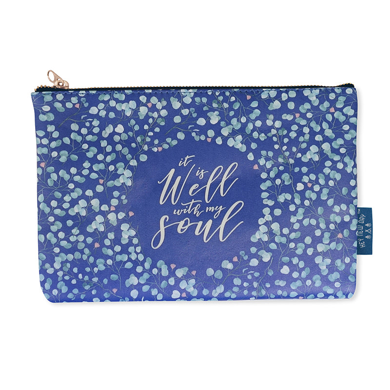 Multipurpose PU Leather pouch in blue with leaves designs on it. Features bible verse 'It is well' in white lettering and is great Christian gift idea. The pouch has inner lining, gold zip. Dimensions: 21cm (W) x 14cm (H)