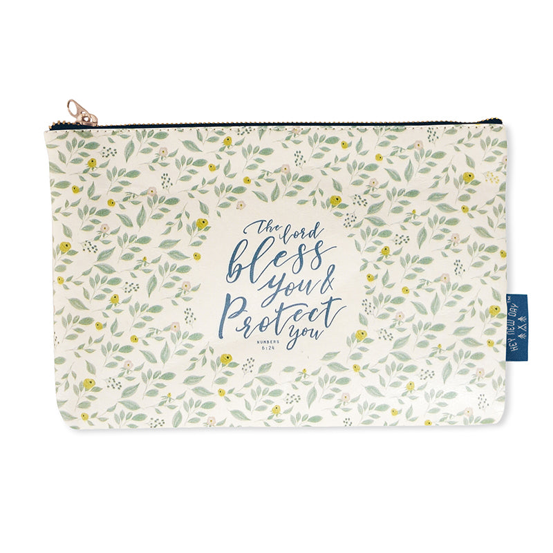 Multipurpose PU Leather pouch in off white with garden designs on it. Features bible Numbers 6:24 in blue lettering and is great Christian gift idea. The pouch has inner lining, gold zip. Dimensions: 21cm (W) x 14cm (H)