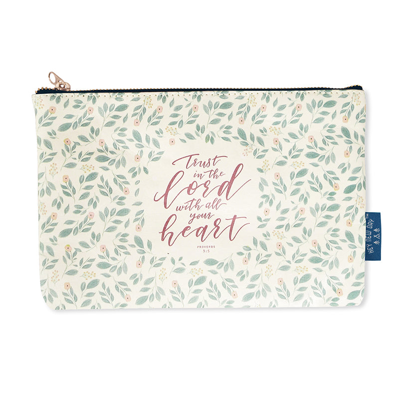 Multipurpose PU Leather pouch in white with foliage designs on it. Features bible verse 'Trust in the Lord with all your heart ' in rose lettering and is great Christian gift idea. The pouch has inner lining, gold zip. Dimensions: 21cm (W) x 14cm (H)