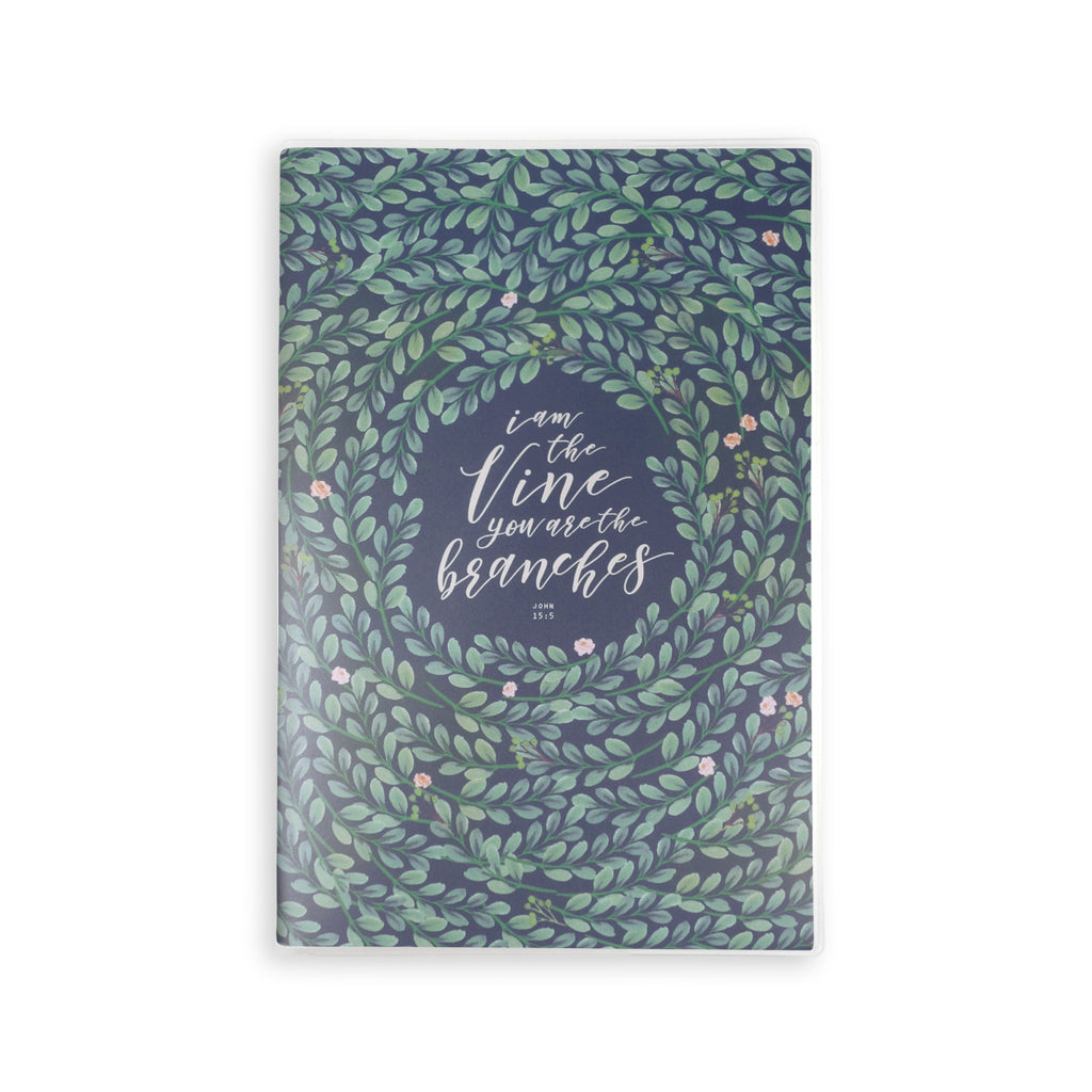 A5 lined notebook with garden theme and bible verse 'I am the vine and you are the branches'. 160 lined pages, eco-friendly tree-free palm paper, 250GSM clear sleeve cover, 100GSM Uncoated inlay, Coptic bound. Perfect for school and journaling.