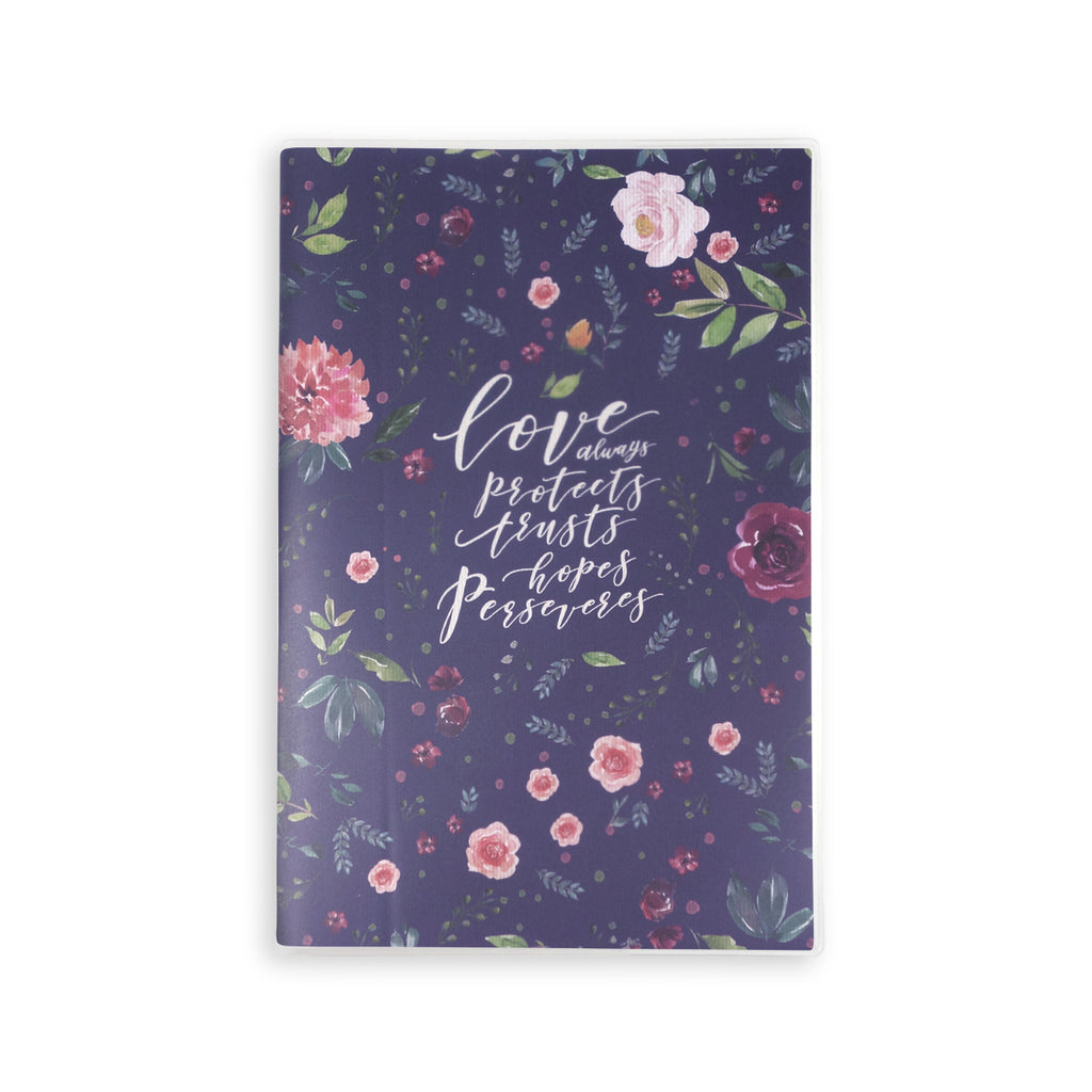 A5 lined notebook with garden theme and bible verse 'Love always protects trusts hopes perseveres'. 160 lined pages, eco-friendly tree-free palm paper, 250GSM clear sleeve cover, 100GSM Uncoated inlay, Coptic bound. Perfect for school and journaling.