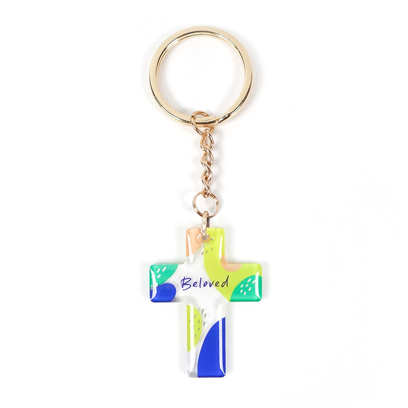 Bible verse inspired Christian keychain gift. transparent acrylic cross keychain with word 'Beloved' for organising keys. Great gift idea for birthdays