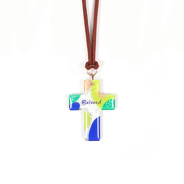 Bible verse inspired Christian car charm gift. transparent acrylic cross keychain with word 'Beloved', hung with PU Leather