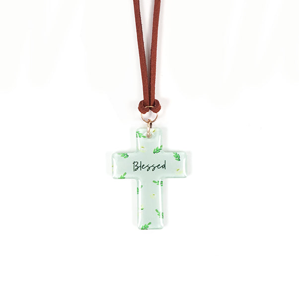 Cross Keychains green car charm with PU Leather string to hang.