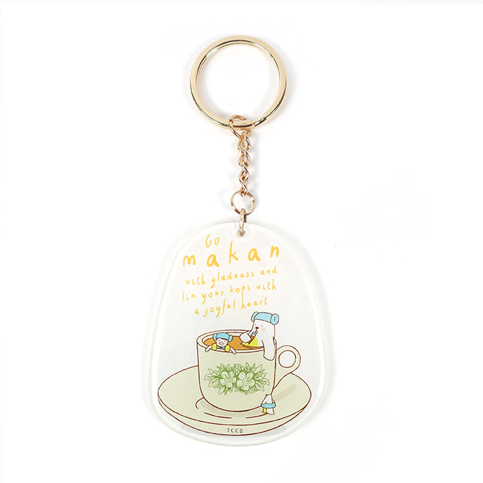 Go makan withgladness and lim your kopi with a joyful heart keychain