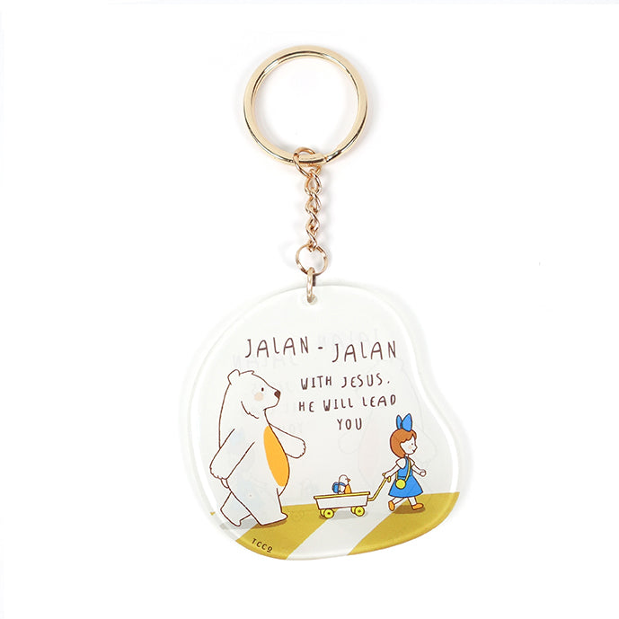 Bible verse inspired Christian keychain gift. Clear white keychain with bear and girl cartoon. Verse: Jalan jalan with Jesus. He will lead you.