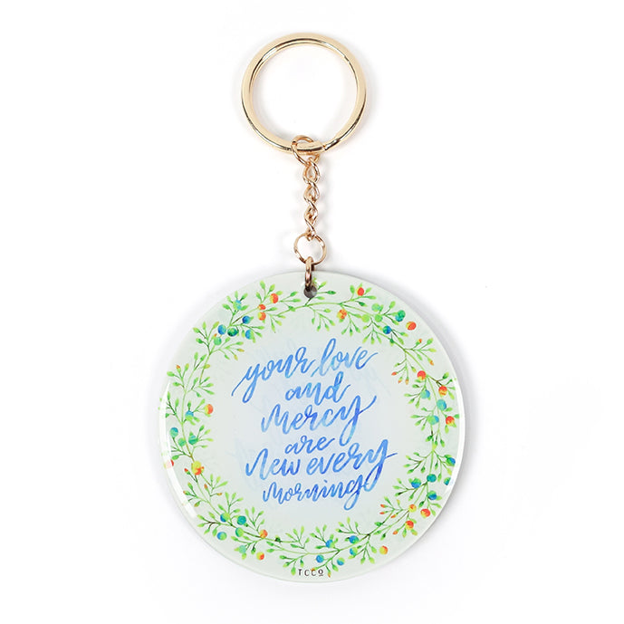 your love and mercy are new every morning keychain. Handpainted water colour theme with plant wreath.