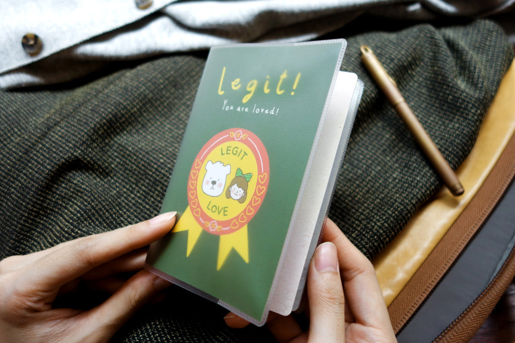 Legit you are loved passport cover. Girl and bear cartoon design