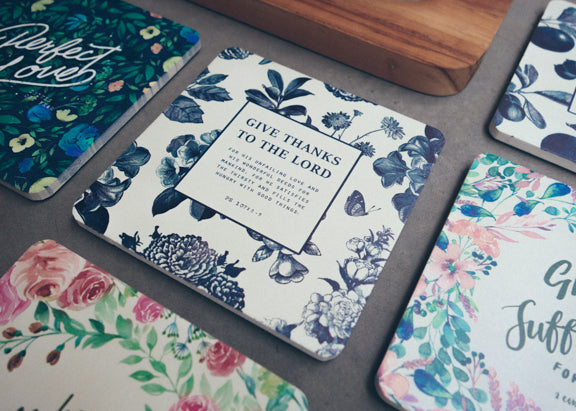 Simplistic floral designed coasters by Singapore local christian company