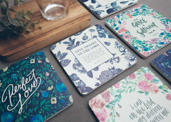 Local Singapore modern floral design coasters as a gift to a friend or family