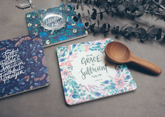 Digitally printed coasters with floral patterns locally designed in Singapore