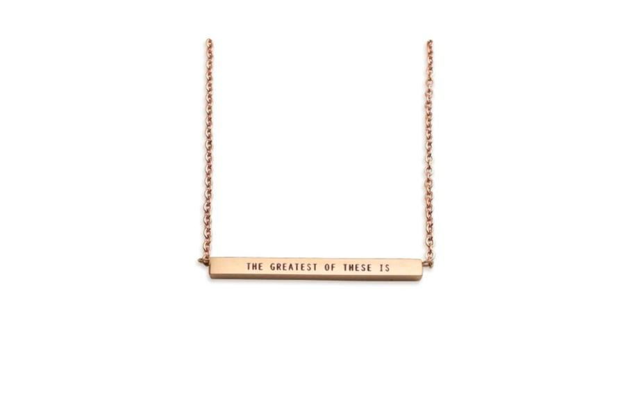 The Greatest of These is Love Bar Necklace