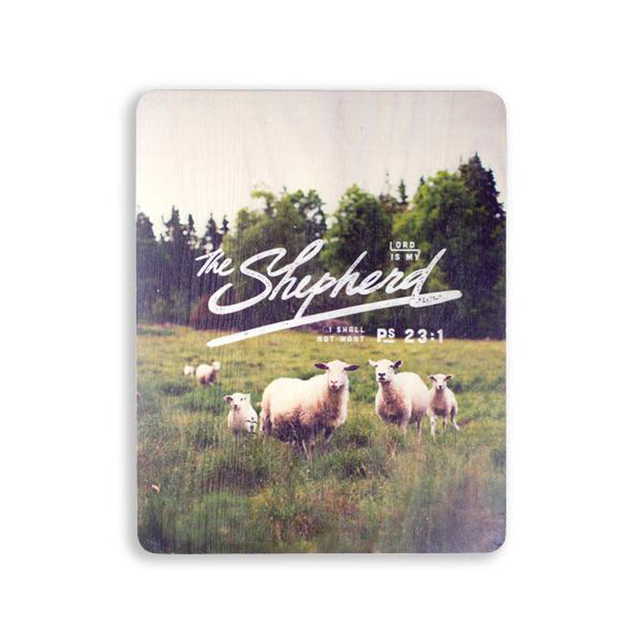motivational bible verse 'The Lord is my shepherd' on sheep and grassland background with white font details digitally printed on 16cmx20cm quality pine wood.