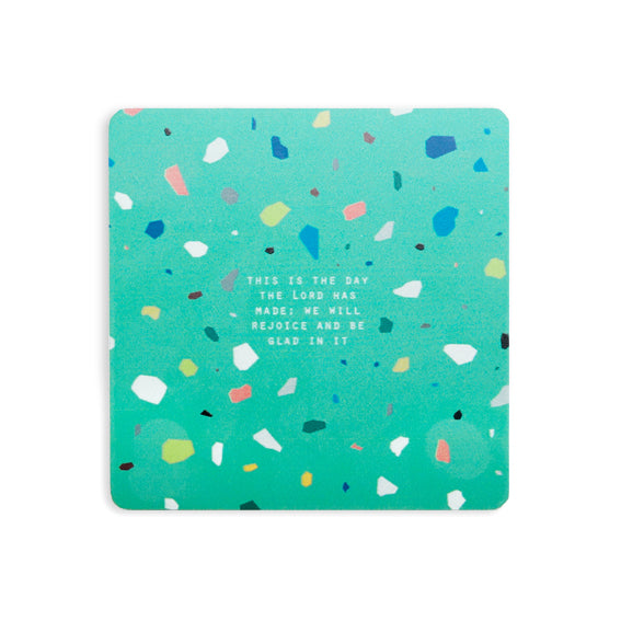 This is the day the lord has made we will rejoice and be glad in it green terrazzo bible verse coaster