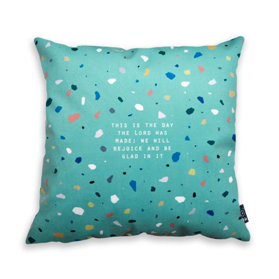 Premium 45cmx45cm pillow cover made of thick super soft velvet,  Green terrazzo designs. With hidden zip feature. Features verse 'This is the day the Lord has made; we will rejoice and be glad in it'.