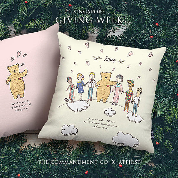 Premium 45cm x 45cm Super soft velvet cushion cover in soft yellow. Features inspirational truth of 'love' with designs of bears and people from all over the world holding hands.
